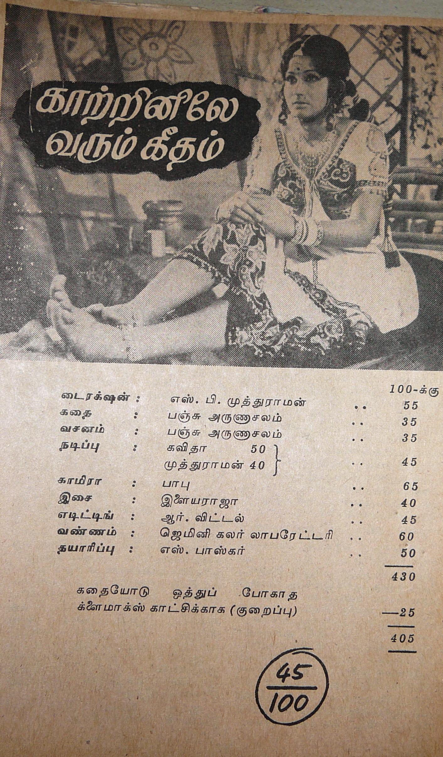 காற்றினிலே வரும் கீதம் - அந்தக் கால ஆனந்த விகடன் திரை விமர்சனம் (1978)