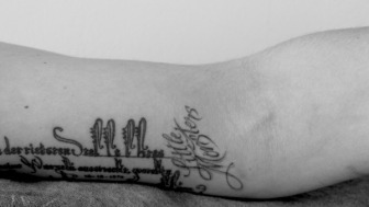 look what i did last night. little monsters forever, on the arm that holds my mic.