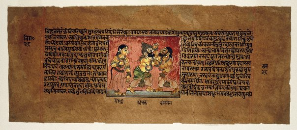 Scriptures_Fight_Sanskrit_Text-_Keesaka_and_Bheemaa_Old_Painting_from_Mahabharata_Series